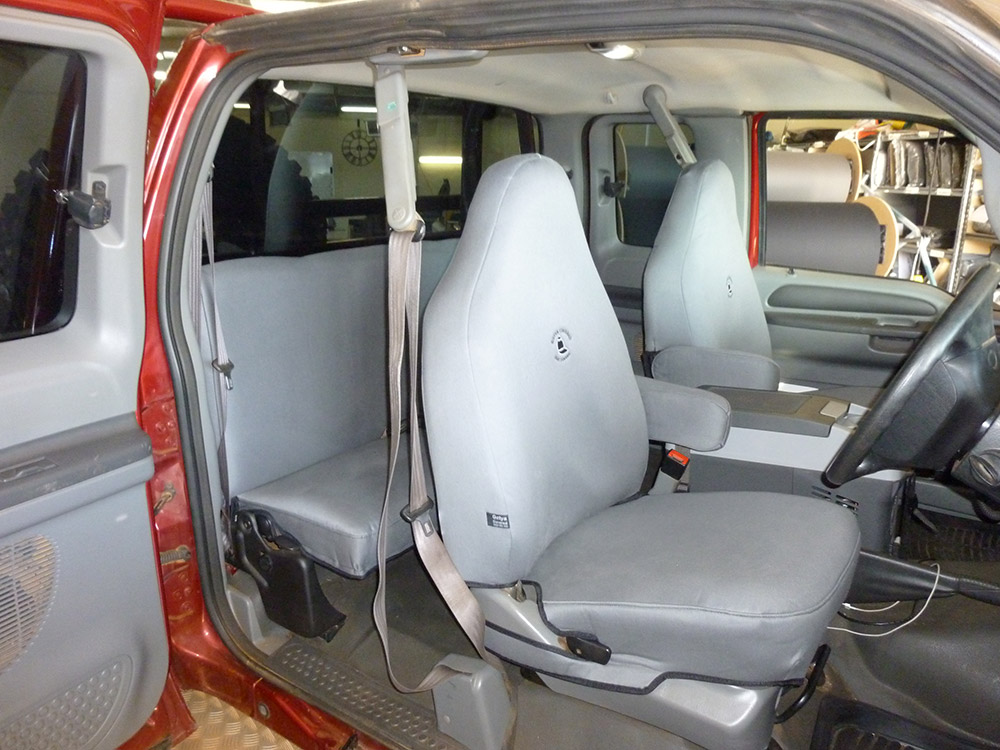 Ford F250 grey denim seat covers